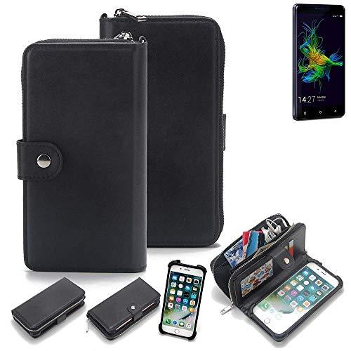K-S-Trade 2in1 Handyhülle für Allview P8 Energy Mini Schutzhülle & Portemonnee Schutzhülle Tasche Handytasche Case Etui Geldbörse Wallet Bookstyle Hülle schwarz (1x)