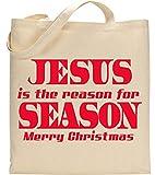 Jesus Is The Season For The Reason Merry Christmas Christian Slogan Tote Bag - Cotton Shopping Bag