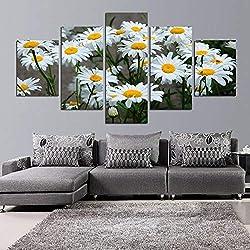 WSSWLH Lienzo Decoración para El Hogar Marco De Pintura Cuadros Modulares HD Impreso 5 Paneles Margarita Blanca Girasol Flores Cartel Habitación Arte De La Pared