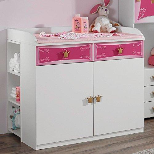 Wickelkommode Wickeltisch Babymöbel Babyzimmer Babytisch rosa weiß Regal