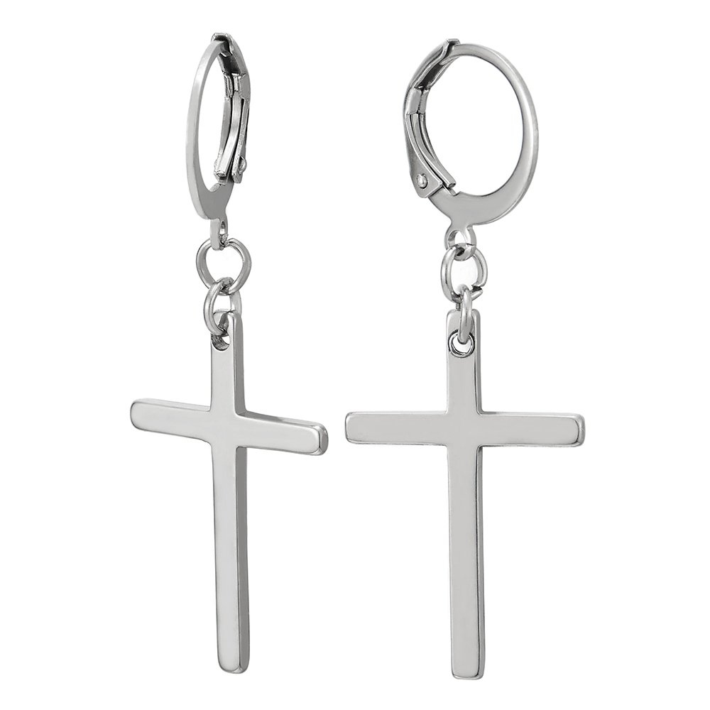 Pair Mens Boys Womens Stainless Steel Huggie Hinged Hoop Earrings with Long Dangle Cross