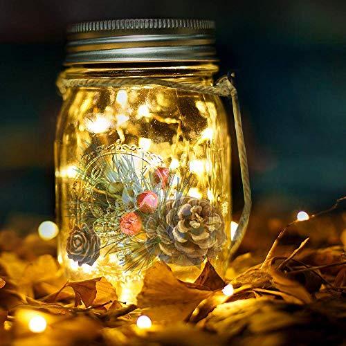 Photo Gallery lampada solare barattolo luce mason jar luci solari con 20 led luce di striscia e rami di pino artificiale nel lanterna solare giardino decorazioni per aperto cortile desktop albero regalo di natale