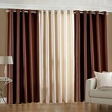 PINDIA 3 PC COMBO Faux Silk Eyelet Door Window Curtain, Polyester Plain Ringtop - Brown2 Cream1