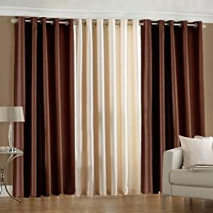 Pindia 3 Piece Eyelet Polyester Door Curtain Set - 7ft, Brown and Cream