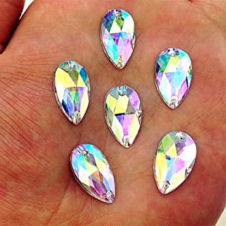 MajorCrafts 50pcs Crystal AB 18mm*11mm Flat Back Tear Drop Sew On Acrylic Rhinestones C11