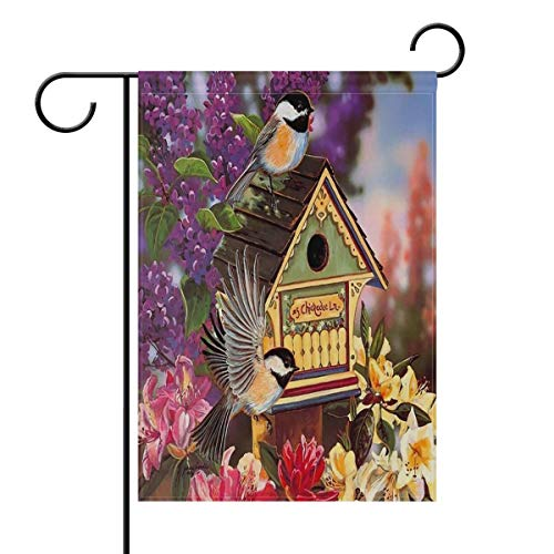 HujuTM Hummingbird Birdhouse Flowers Spring House Flag Garden Banner 18 x 27 Inches Double Sided, Birds Lavender Lily Flowers Summer Garden Flags for Anniversary Yard Outdoor Decoration -