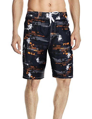 Minetom Herren Sommer Freizeit Shorts Casual Mode Urlaub Strand Shorts Slim Fit Kokosnuss Palmen Schwimmhose Badeshorts Surfen Shorts Schwarz Orange EU XS (Gestreifte Boardshort Schwarz)