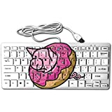 Pig Donut Mini Keyboard Wired Thin Light 78 Keys USB For Pc Computer Laptop