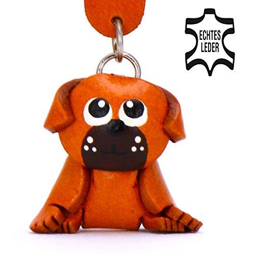 Mops Artikel Molly - Pug Schlüsselanhänger Deko Figur aus Leder in der Kategorie Kuscheltier / Stofftier / Plüschtier 2018 von Monkimau in braun - Dein bester Freund. Immer dabei! - ca. 5cm klein (Mop Hat)