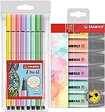 Stabilo 68/8 - 01 Premium aus Filz von 68, Packung mit Pastellfarben 8er Filzstifte + 6 Textmarker Set sortiert (8er Filzstifte + 6 Textmarker Set, sortiert)