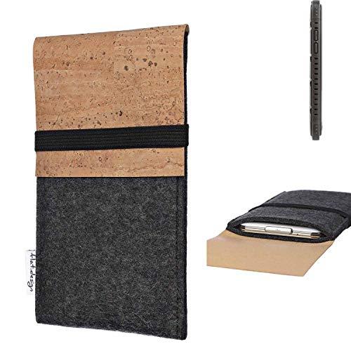 flat.design Handy Hülle SAGRES für Cyrus CS 35 Made in Germany Handytasche Filz Tasche Schutz Case fair Kork