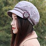 XINQING-MZ Hat fiori femminili beret cap in autunno e inverno fiore cappuccio Moda Fashion Cap nuovo video sottile, Viola