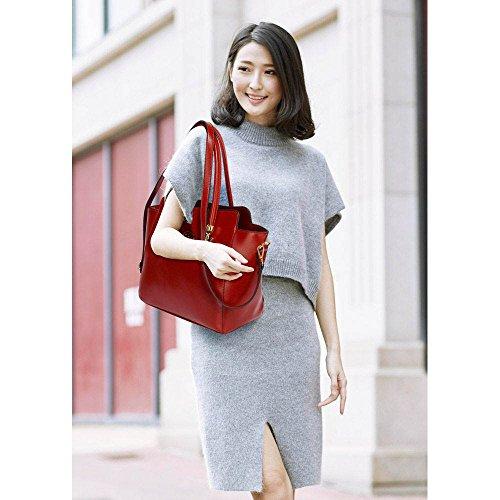 Damenhandtaschen Der Frauen Schulterbeutel Designer Neue Promi Stil Trage Groß (Lila Trage Bag1) A - Burgund