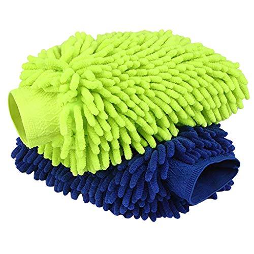 Komise 2PCS Mikrofaser Autofenster Waschen Home Reinigungstuch Staubtuch Handtücher Handschuhe (Blau/Grün)