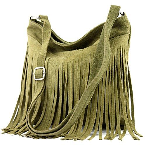 Borsa a mano borsa a tracolla shopping bag donna in vera pelle italiana T02 T145 Oliv Tienda Online De Italia Descuento De Italia mCKJr0Z