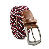 MultiWare Elasticated Woven Belt Stretch Belt For Men Black And White Red