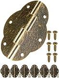 FUXXER - 6x Antik Scharniere | Bronze Eisen Design | Für Schränke Schrank-Türen Truhen Kisten Dosen im Vintage Land-Haus Retro Stil | 56 x 42mm 6er Set