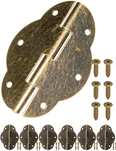 FUXXER® - 6x Antik Scharniere | Bronze Eisen Design | Für Schränke Schrank-Türen Truhen Kisten Dosen im Vintage Land-Haus Retro Stil | 56 x 42mm 6er Set -