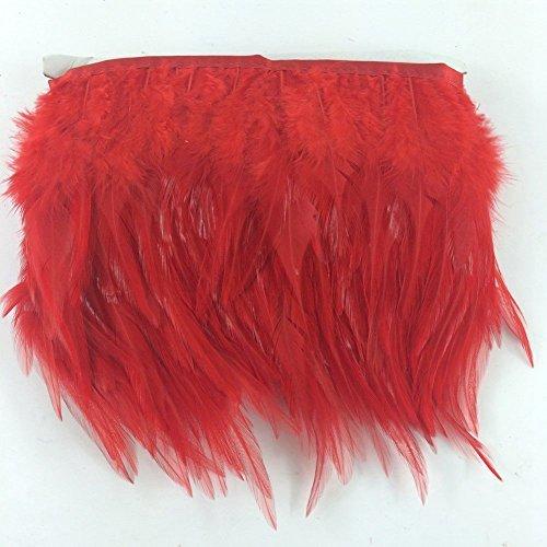 Sowder Feder-Fransen-Borte mit gefärbten Hahnenfedern, für Kostüm, Deko, Kleidung, Packung mit 4,57 m rot