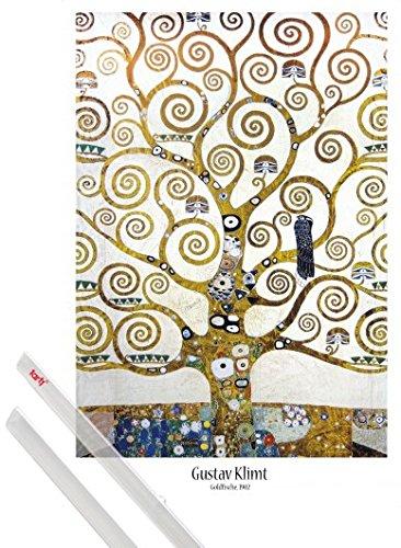 1art1 Poster + Hanger: Gustav Klimt Poster (91x61 cm) Der Lebensbaum (Detail) Inklusive EIN Paar...