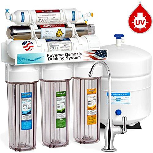 EXPRESS Wasser rouv10dcg UV-Ultraviolett-Sterilisator Umkehrosmose Home Trinkwasser Filtration System, 100GPD, Deluxe Chrom Wasserhahn, Manometer, transparent Gehäuse