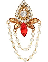 AccessHer Vintage Red And Gold Brooch With Chains For Men