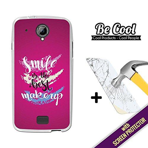 BeCool® - Coque Etui Housse en GEL Startrail 5, [ +1 Protecteur Verre Trempé ] Silicone TPU, protège et s'adapte a la perfection a ton Smartphone. Le sourire est le meilleur maquillage.