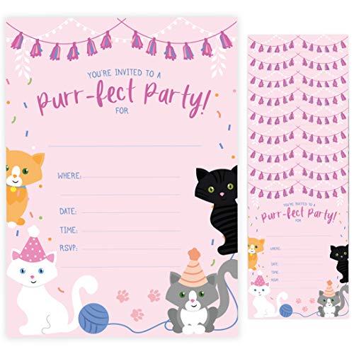 Einladungskarten zum Geburtstag, Motiv Katze, Kätzchen, mit Umschlägen, 10 Stück - Box Cactus Katzen