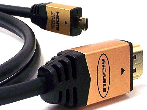 Ricable Micro M3 - 3 Meter - Kabel HDMI 1.4 High Speed 3D HDMI/Micro HDMI Kabel zertifiziert mit Ethernet - Hi-Fi Qualität für den AV HD Anschluss mit OFC Kupferleiter und geschirmte Verbinder. Italienisches Design und Lebenszeitgarantie