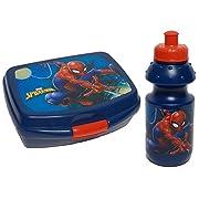 Spiderman disney Set contenente Box porta merenda porta pranzo in plastica per alimenti e borraccia in plastica con tappo in plastica. Dimensioni: 16x13x6 cm porta merenda dimensioni: 17x6 cm borraccia 350ml