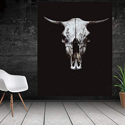 ucke,Hd-Drucken Poster Gedruckt Auf Leinwand,Malen Schwarz Weiss Kuh Schädel Tier Gesicht Bild Drucken Tier Wall Art Poster Wohnzimmer Schlafzimmer Home Decor,30×40Cm Ohne Rahmen ()