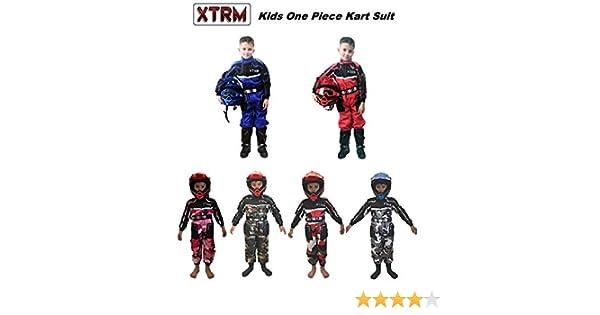 XTRM Kids Kart Racing Suit Junior Motocross Childrens Quad Bike Off Road Go-Karting Enduro ATV Sports Overalls MX Racing One Piece Suit Camo Red