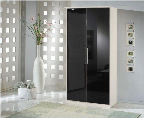 Berlin 2 Door Wardrobe Black Gloss and Alpine White- UK ONLY