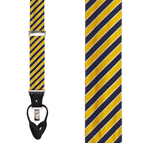 Riley 100% cuir véritable/Clips Bretelles, nickel, taille réglable Yellow & Navy
