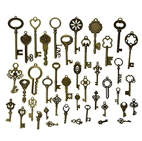 Makhry 42Pcs Jewelry Making Charms Craft keys Decorative Key Skeleton