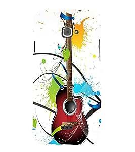 Fiobs basic guitar wooden classic music lovers floral splash colour design Designer Back Case Cover for InFocus M350