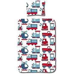 Aminata Kids Kinder-Bettwäsche 100-x-135 cm Auto-s BAU-Fahrzeuge Feuerwehr Baby-Bettwäsche 100-% Baumwolle Renforce rot hell-blau Weiss Junge-n und Mädchen Bagger
