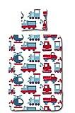 Aminata Kids Kinder-Bettwäsche 100-x-135 cm Auto-s BAU-Fahrzeuge Feuerwehr Baby-Bettwäsche 100-% Baumwolle Renforce rot hell-blau Weiss Junge-n und Mädchen Bagger Baustelle