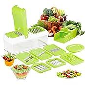 Duomishu DE160153DMS, 10 in 1 Multischneider Gemüsehobel Gemüseschneider Gemüse und Obst Schneiden, Raspeln, Zerkleinen, Verstellbarer Mandoline Gemüseschneider Kartoffelschneider Gemüsehobel Gemüsereibe Mandoline Slicer Schnell und gleichmäßig für Zwiebe