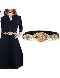 Famhome Vintage correa cinturón elástico Cintura elástica correa fajín hoja  diseño cierre ... aa2ee9cd0296