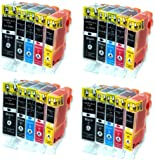 4 Sets = 20 Canon Compatible Printer Ink Cartridges WITH CHIP & level announcement for Canon Pixma IP 3600 4600 4700 MP 980 630 620 540 560 550 640 980 990 High Capacity Inks optimized for Canon Pixma Printer by Delcomcomputers & Wantmoreink