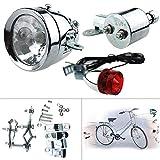 Maso - Set di fanali anteriori e posteriori per bicicletta con generatore di attrito, alimentato a dinamo, 12 V, 6 W