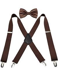 Conjunto de tirantes y pajarita par hombre Enjoymore, 3,5cm, 4-clip