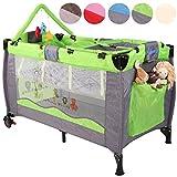 KIDUKU Kinderreisebett Kinderbett Säuglingsbett Babybett Klappbett Reisebett für Kinder Zweitbett, mit zweiter Ebene für Kleinkinder/Säuglinge, 6 verschiedene Farben, kompakt, höhenverstellbar (Grün)