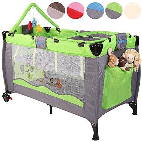 KIDUKU® Kinderreisebett Kinderbett Säuglingsbett Babybett Klappbett Reisebett für Kinder Zweitbett, mit zweiter Ebene für Kleinkinder/Säuglinge, 6 verschiedene Farben, kompakt, höhenverstellbar (Grün)