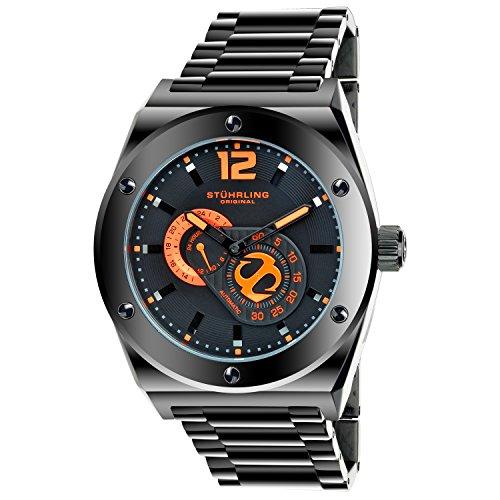 Stuhrling originale orologio da uomo automatico a gen-x designer 49mm PVD Tonneau oblò a forma di solido acciaio INOX 21gioielli completamente decorato Cotes de Genève movimento quadrante nero