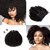 Saga Queen Clip Brésilien Afro Kinky Bouclés Dans Extensions de Cheveux 9pcs 20clips 120g / pck Brazilian Afro Kinky Curly Clip In Hair Extensions (1 bundle 10inch, natural black)