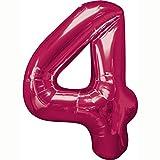 Amscan 26/66x 34/86cm Nummer 4Super Shape Folienballon, Pink