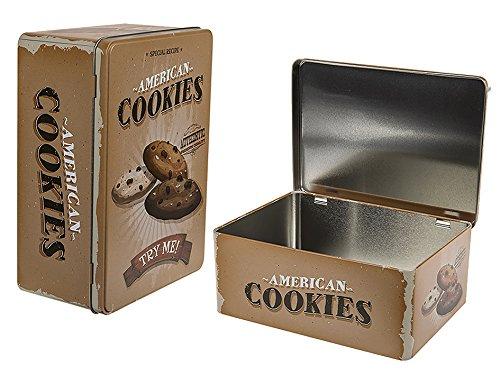 Haus und Deko Keksdose Vorratsdose Metall Dose Gebäck Aufbewahrung große Blechdose 22x16x9 cm American Style Cookies