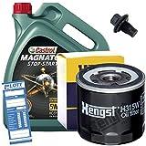 Ölwechsel Set Inspektion 5L Castrol Magnatec Stop-Start A5 Motoröl + HENGST Ölfilter + Öl Ablassschraube Verschlussschraube